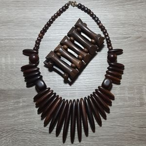 Wood Fringe Necklace and Bracelet